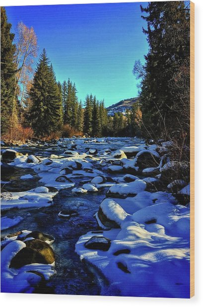 Wood Print featuring the photograph Snowy Eagle River by Dan Miller