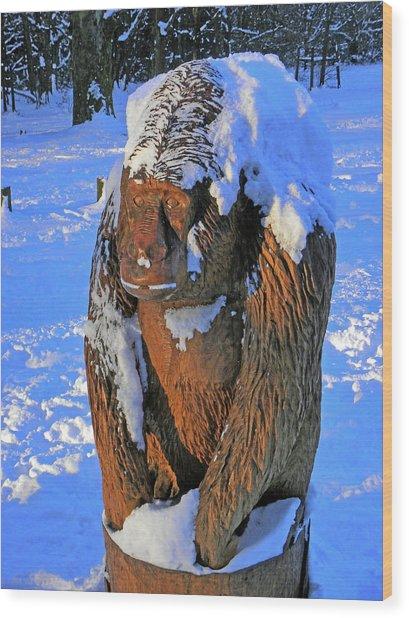 Snowy Gorilla Wood Print