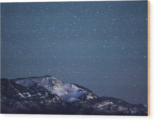Snowy Mountain At Night Wood Print by Harpazo hope