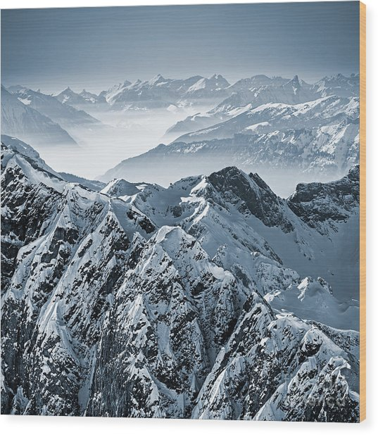 Snowy Mountains In The Swiss Alps. View Wood Print