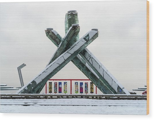 Snowy Olympic Cauldron Wood Print