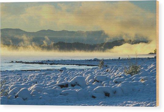 Snowy Shoreline Sunrise Wood Print