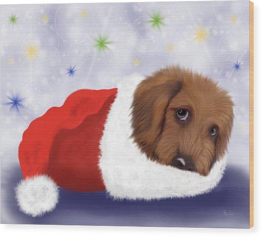 Snuggle Puppy Wood Print