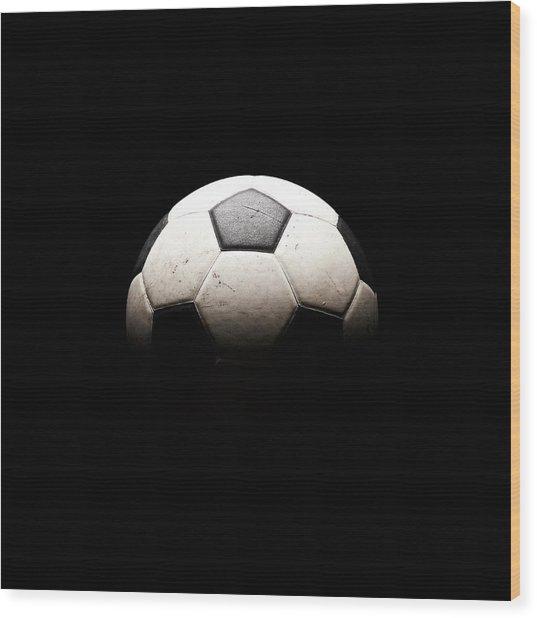 Soccer Ball In Shadows Wood Print