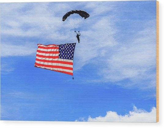 Socom Flag Jump Wood Print