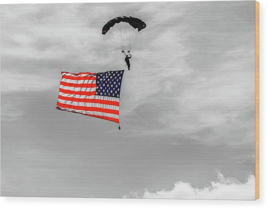 Socom Flag Jump In Selective Color Wood Print