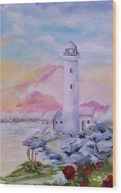 Soft Lighthouse Wood Print