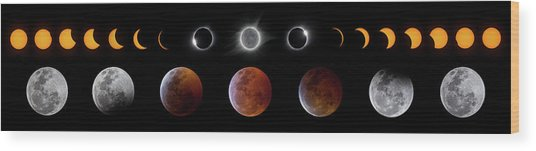 Solar And Lunar Eclipse Progression Wood Print