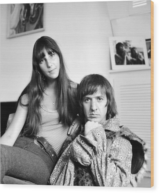 Sonny & Cher Portrait Session At Home Wood Print by Michael Ochs Archives