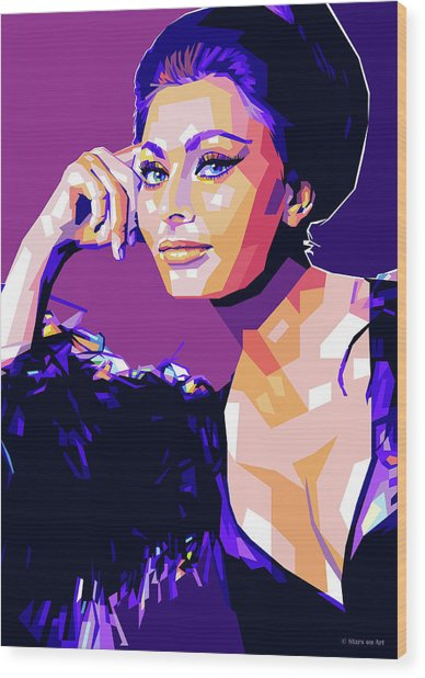 Sophia Loren Pop Art Wood Print