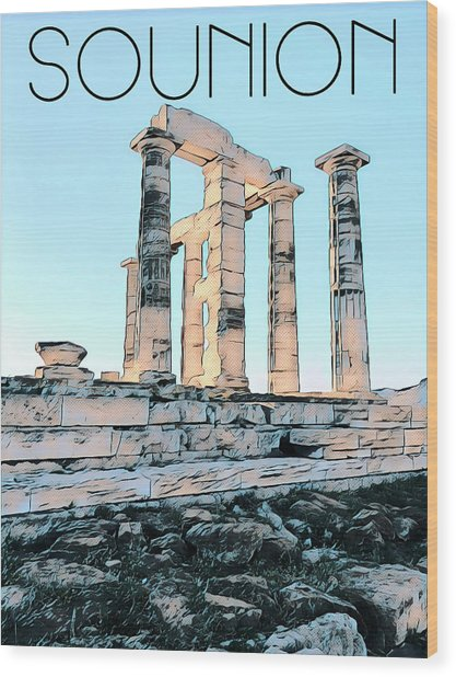 A Sunny Day In Sounion Wood Print