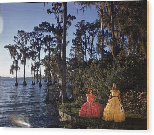 Southern Belles In Cypress Gardens Wood Print by Eliot Elisofon