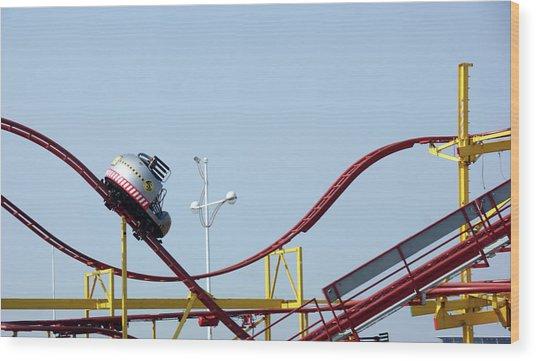 Southport.  The Fairground. Crash Test Ride. Wood Print