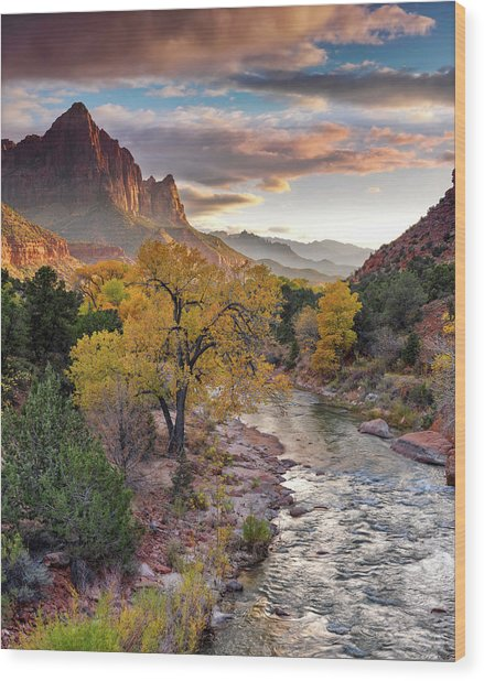 Southwest Light Along The Virgin River Wood Print