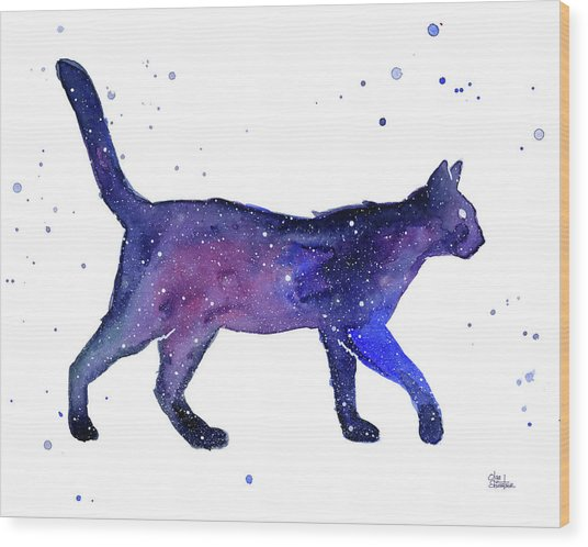 Space Cat Wood Print