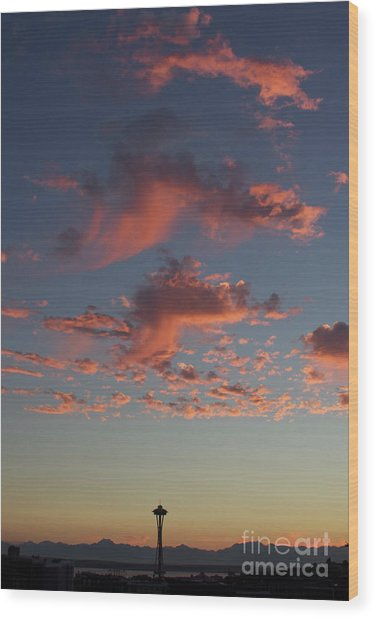 Space Needle And Pink Clouds Wood Print