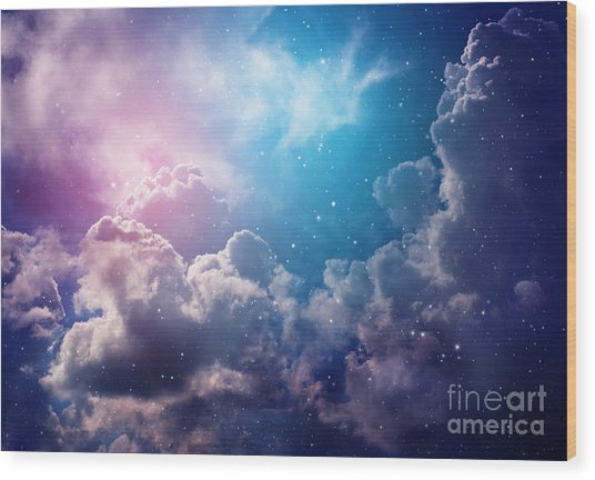 Space Of Night Sky With Cloud And Stars Wood Print