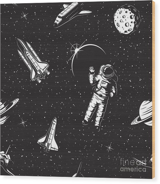 Space Seamless Pattern. Black And White Wood Print