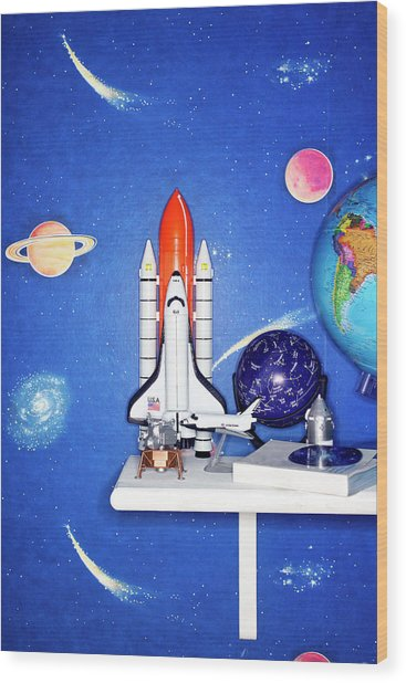 Space Travel Paraphernalia On Bedroom Wood Print by Martin Poole