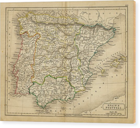 Spain And Portugal Map 1820 Wood Print