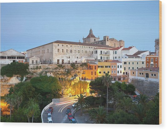 Spain, Menorca, Mahon, View Of Old Town Wood Print by Westend61