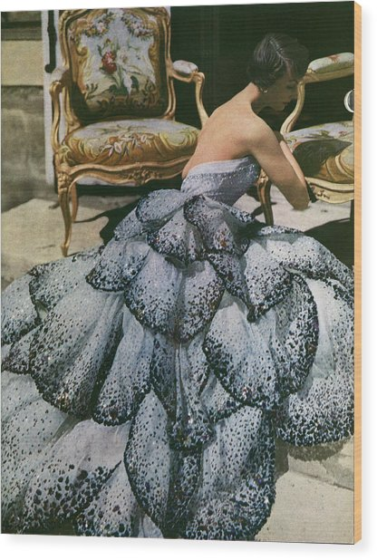 Spangled Christian Dior Evening Gown, 1949 Wood Print by Horst P Horst