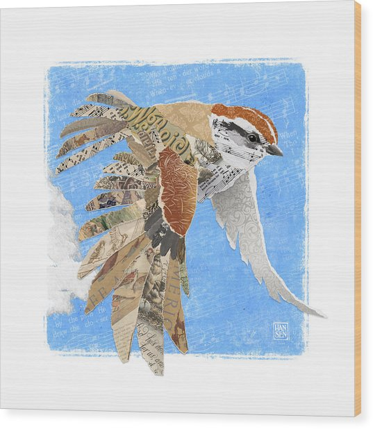 Wood Print featuring the mixed media Sparrow by Clint Hansen
