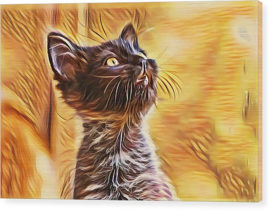 Special Long Neck Kitty Wood Print