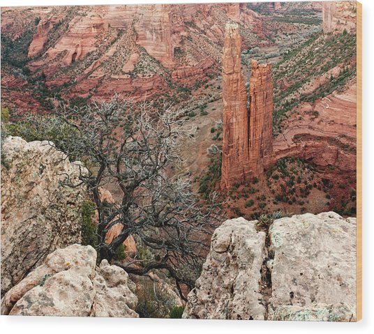 Spider Rock At Canyon De Chelly Wood Print