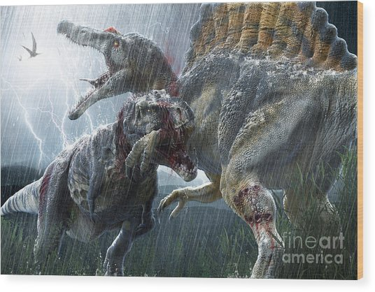 Spinosaurus Vs Tyrannosaurus Wood Print