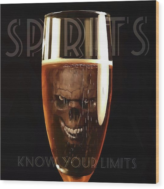 Wood Print featuring the digital art Spirits - Know Your Limits by ISAW Company