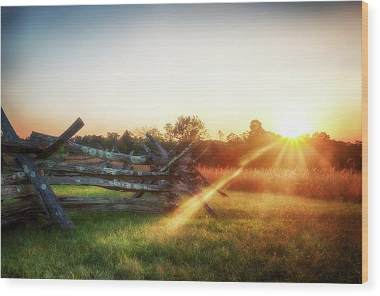 Split-rail Sunset Wood Print