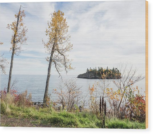 Wood Print featuring the photograph Split Rock In The Fall by Whitney Leigh Carlson