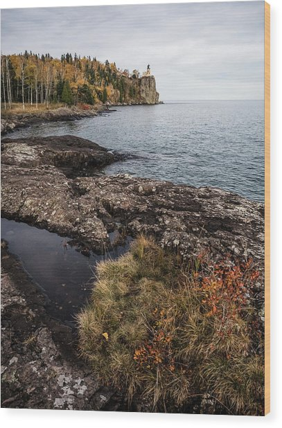 Wood Print featuring the photograph Split Rock Lighthouse Rocky Shore by Whitney Leigh Carlson