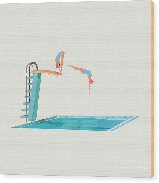 Sport Women Standing On Diving Board Wood Print