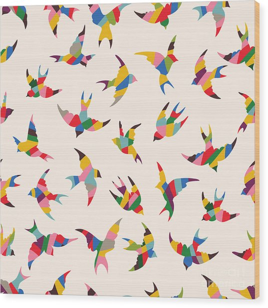 Spring Birds Seamless Pattern. Colorful Wood Print