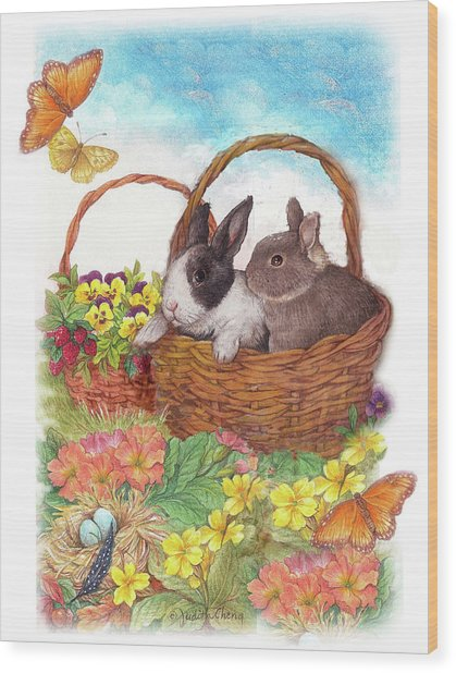 Spring Garden With Bunnies, Butterfly Wood Print