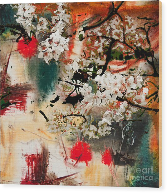 Spring Motif, Abstract Background Oil Wood Print