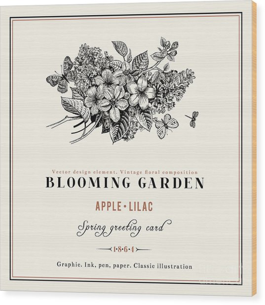 Spring Vector Vintage Floral Background Wood Print
