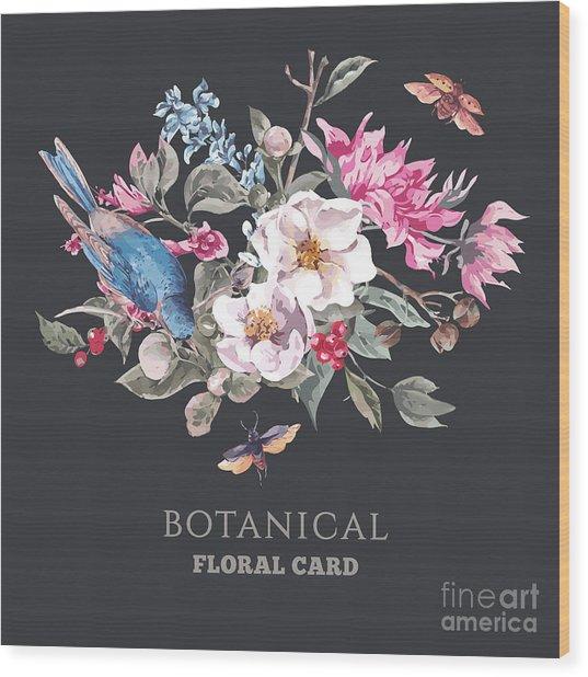 Spring Vintage Greeting Card With Wood Print