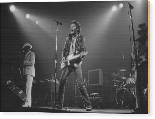 Springsteen Live In New Jersey Wood Print by Fin Costello