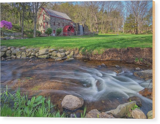Springtime At The Grist Mill Wood Print