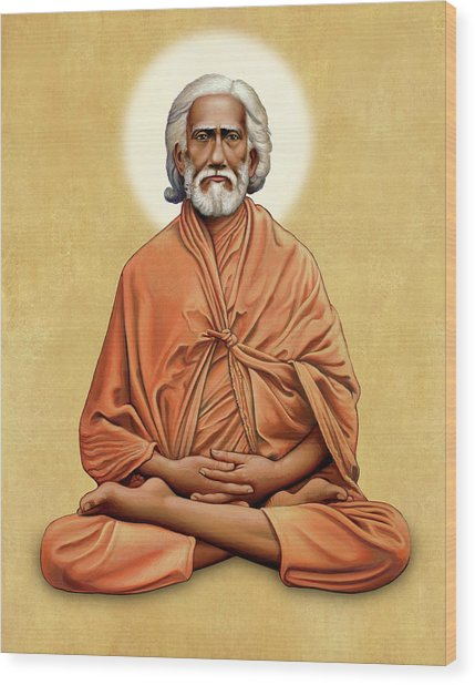 Sri Yukteswar Giri On Gold Wood Print