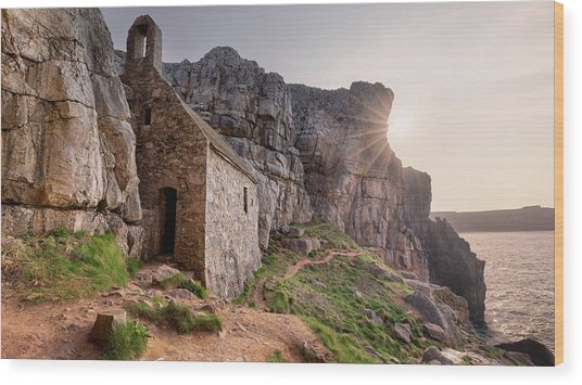 Wood Print featuring the photograph St. Govan's Chapel Sunrise by Elliott Coleman