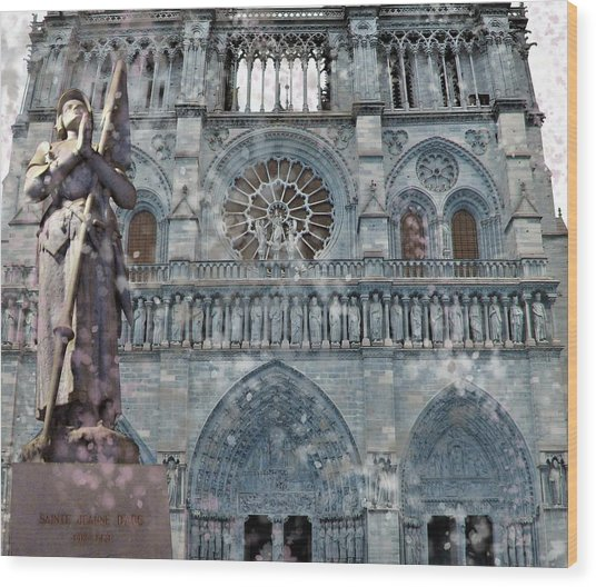 St Joan Of Arc Watch Over Notre Dame Wood Print