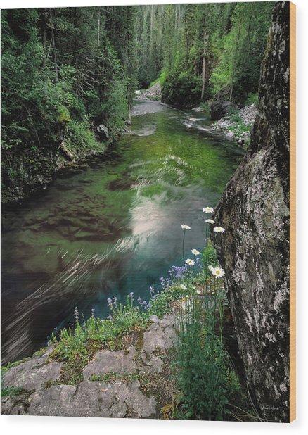 St Joe River Wood Print by Leland D Howard