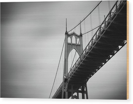 Wood Print featuring the photograph St. Johns Bridge by Nicole Young