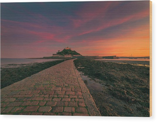 St Michael's Mount Sunset Wood Print