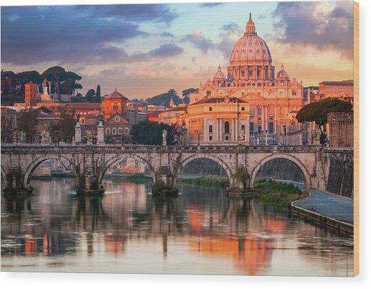 St Peters Basilica, St Angelo Bridge Wood Print by Joe Daniel Price
