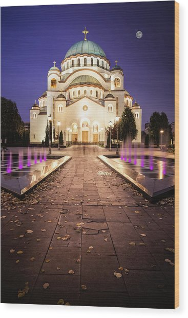 St. Sava Temple In Belgrade Nightscape Wood Print